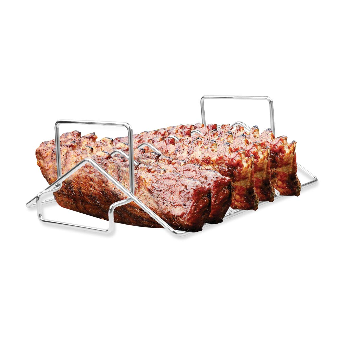 BBQ Rib Rack Grilling Rib Rack for Smoking,Stainless Steel Roast Rack Dual Purpose fit for Big Green Egg and Kamado Joe by Mydracas