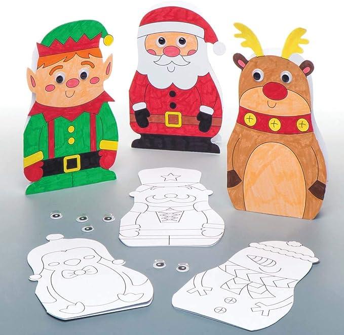 Baker Ross Tarjetas navideñas con Ojos móviles para Colorear (Pack de 6), Ideales para Manualidades y Decoraciones navideñas Infantiles: Amazon.es: Juguetes y juegos