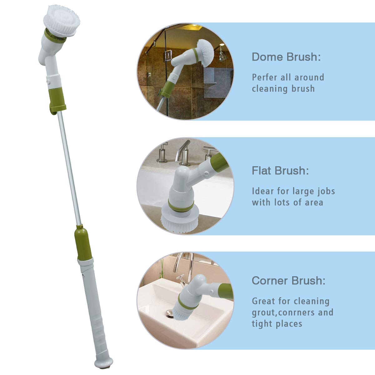 YOUKADA Power Spin Scrubber Cleaning Brush - Upgraded Electric Scrubber with 3 Brush Heads, Extension Handle, Rechargeable Battery - Turbo Cordless Handheld Bathroom, Floor, Tile, Bathtub Cleaner