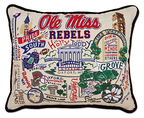 MISSISSIPPI UNIVERSITY OF (OLE MISS) COLLEGIATE EMBROIDERED PILLOW - CATSTUDIO Ole Miss Rebels Pillow