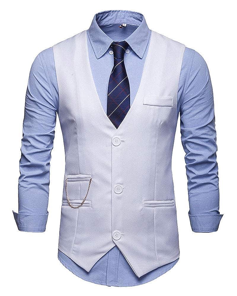 Homme Gilet Costume Formelle sans Manches V-Neck Couleur Unie Bouton Veste