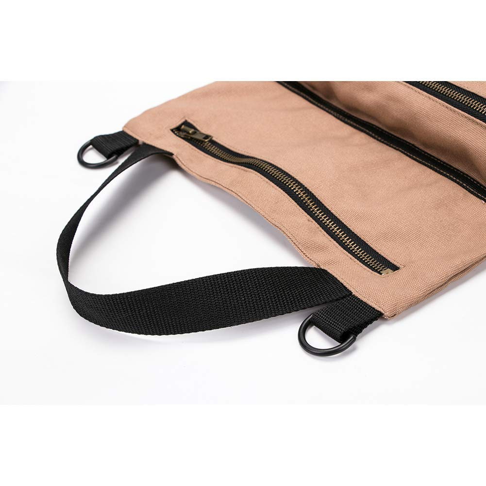 Khaki Handy Small Tools Tote Carrier Tool Roll Up Pouch,Tool Pouch Sling,Car Back Seat Organizer Waxed Canvas Tool Organizer Bucket Super Tool Roll Hersent Big Tool Roll Up Bag Large Wrench Roll