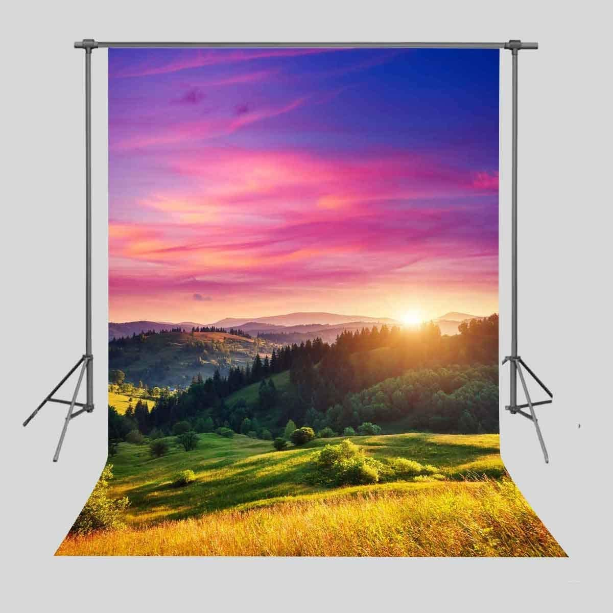 8x10ft Background Sunrise Mountain and Forest Photography Backdrop Photo Props Beautiful Scenery Murals LXFU037