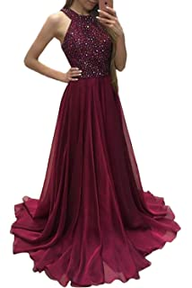 GMAR High Neck Beaded Prom Dresses Long Chiffon A Line Evening Party Gowns