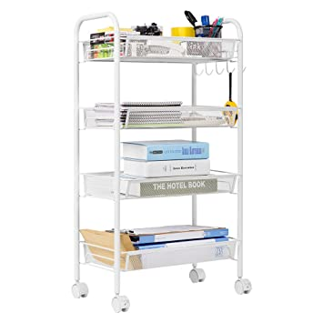 Exceptional LANGRIA 4 Tier Gap Kitchen Storage Slim Slide Out Tower Rack Shelf With  Wheels,