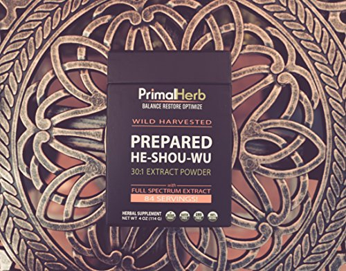 He Shou Wu Fo ti Root Extract Powder - by Primal Herb | Longevity Tea - Supports Hair Growth & Glowing Skin | Organic Potent 30:1-84 Servings - Aged Roots | Includes Bamboo Spoon by Primal Herb (Image #5)