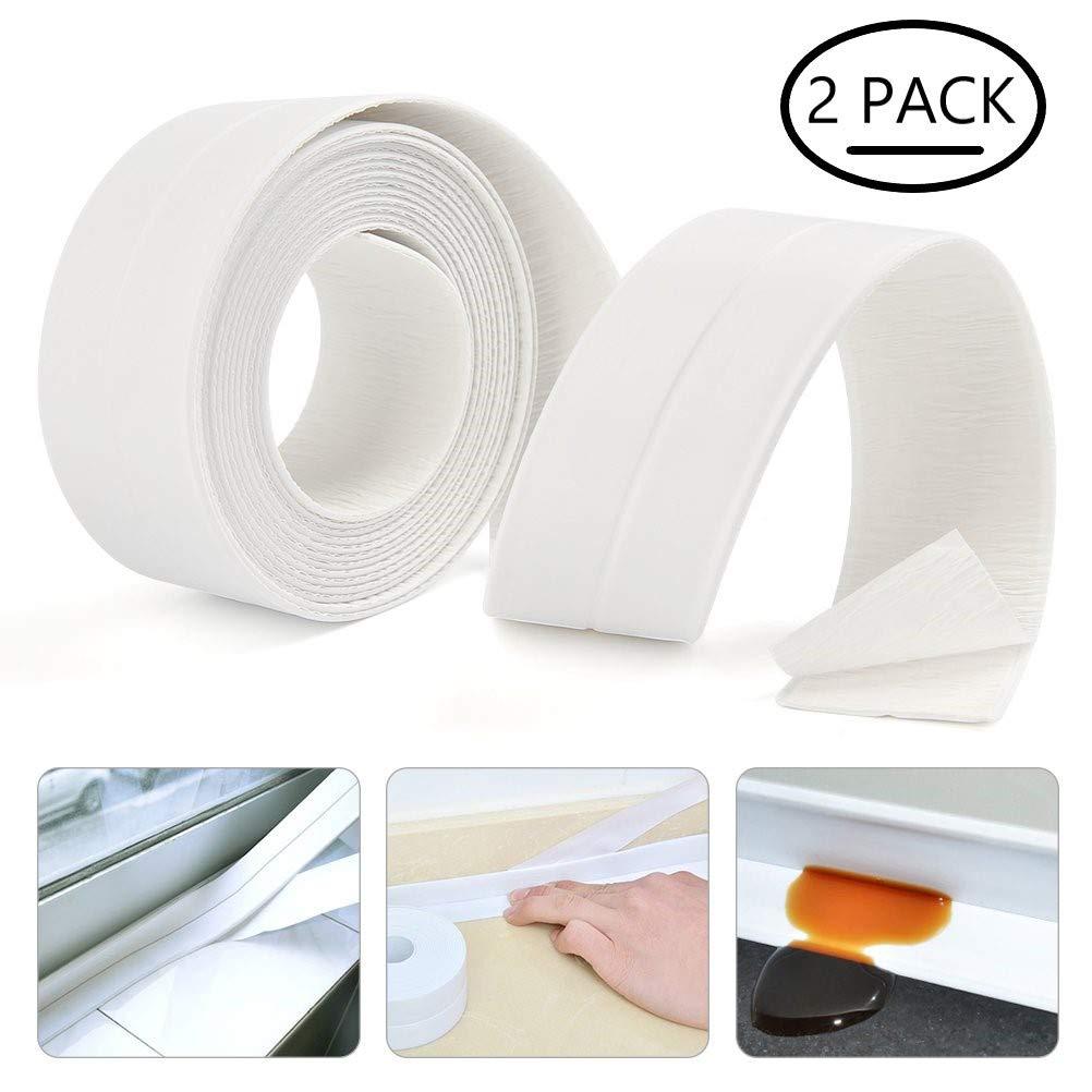 KONIBN Bathtub Caulk Strip 2 Pack Self Adhesive Waterproof PE Caulking Tape for Bathroom Shower Bath Tub Toilet Wall Window Kitchen Sink Sealing (1-1/2'' x 11') by LATERN