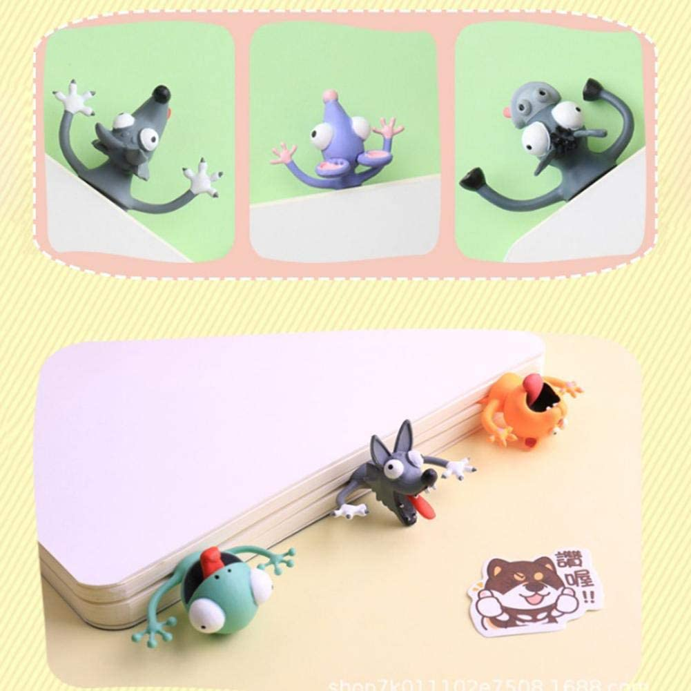 Cartoon PVC Lesezeichen Neuheit Tier Kreative Gequetschte Katze Kaninchen Maus Wolf Buch Marken F/ür Kinder M/ädchen Geschenk fridaymonga 3D Stereo Lesezeichen