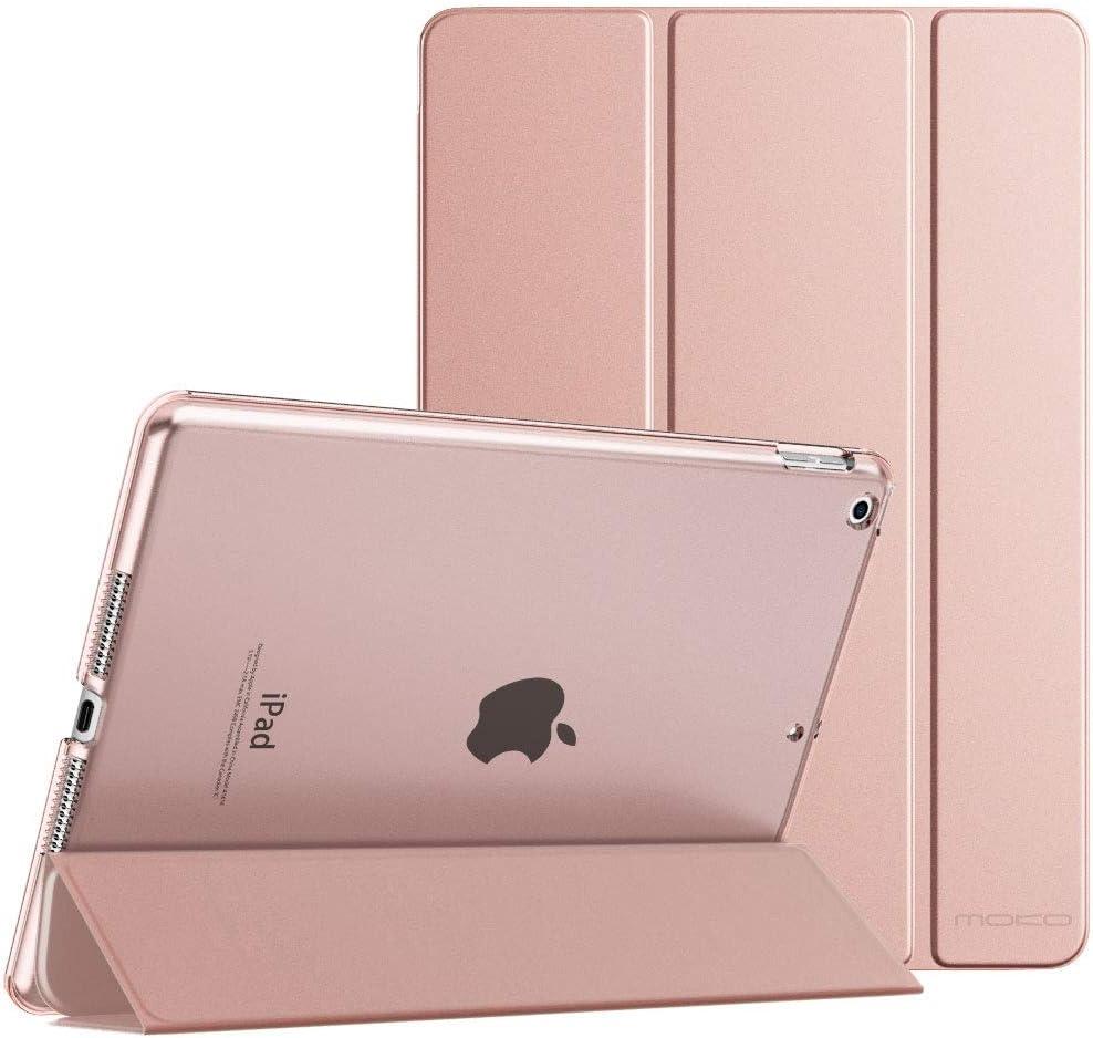 MoKo Funda para Nuevo iPad 8ª Gen 2020 / iPad 7ª Generación 2019 / iPad 10.2 Case, Ultra Delgado Función de Soporte Protectora Plegable Cubierta Trasera Transparente para iPad 10.2