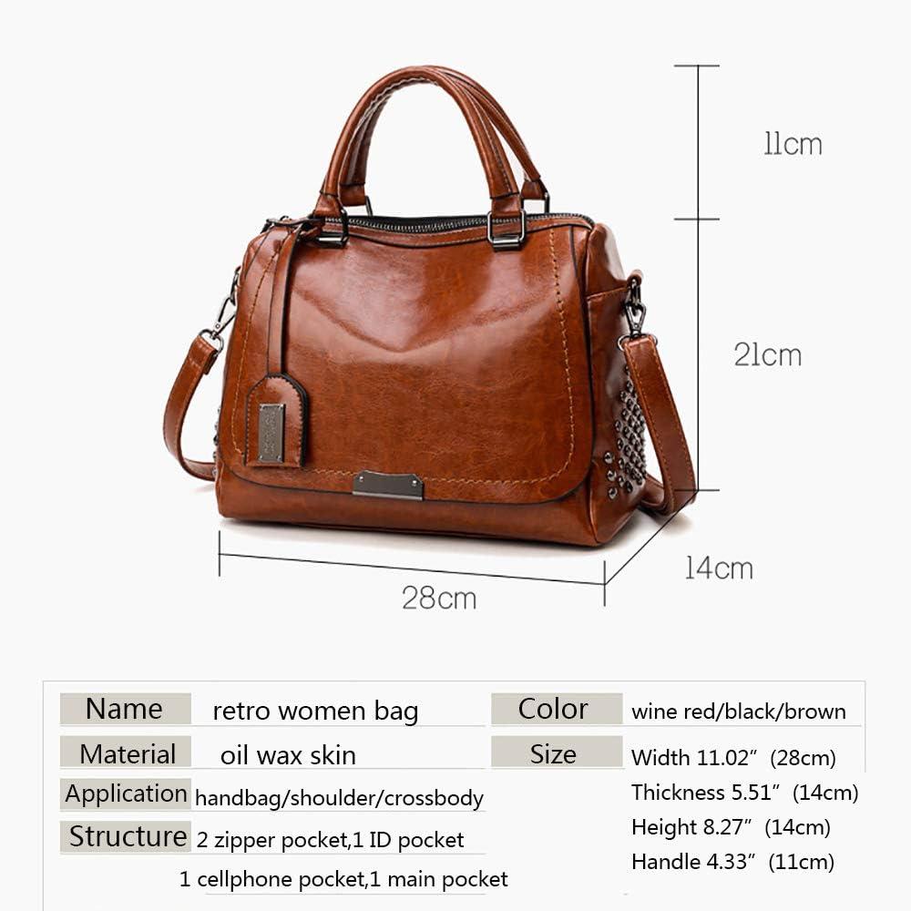 Oil Wax Leather Boston Handbag For Women Shoulder Bags Vintage Business Satchels Crossbody Large Tote