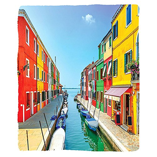 VROSELV Custom Blanket Decor Pictures Burano Colorful Houses Canal and Sky Venetian Gondolas Joyful Picture Italian Summer Lagoon Artistic Living Room Bedroom Blue Orange Coral Green - Canal Tapestry