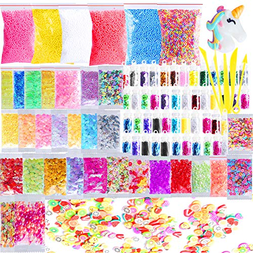 - Outee Slime Supplies Kit, 91 Pcs Slime Charms Glitter Slime Beads Charms Including Foam Beads, Fishbowl Beads, Glitter Jars, Fruit Slices, Rainbow Pearl, Shell, Letters Sequins, Slime Tools