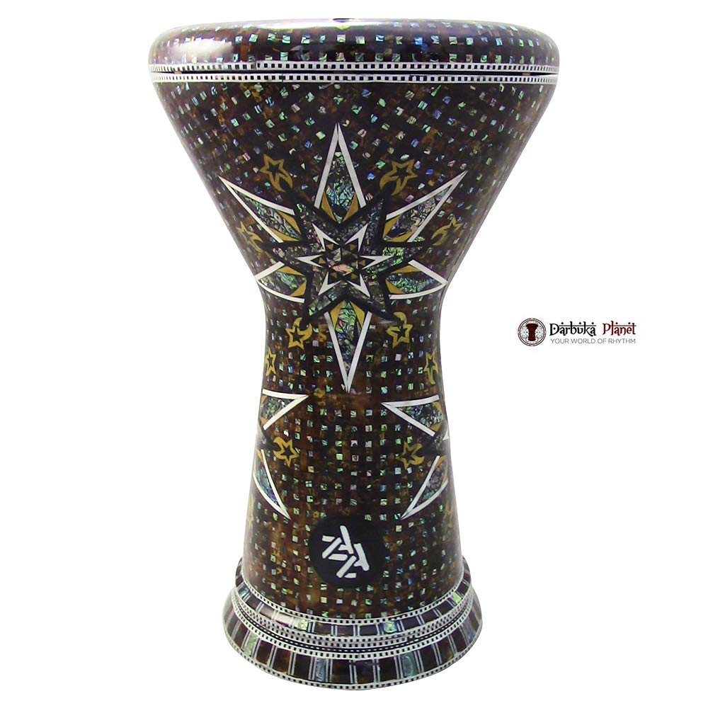 The''Aquila'' Gawharet El Fan & ZAZA Percussion Joint Venture 18.5'' Darbuka Doumbek Drum Sombaty Size With Real Blue Mother of Pearl by Gawharet El Fan