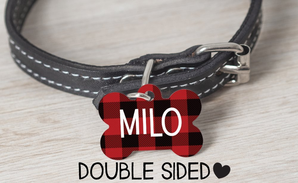 Pet Id Tag for Dogs,Personalized dog Tag, Plaid Dog Tag, Double Sided, Collar Tag for Dogs, Boy Dog Tag, Red and Black Plaid