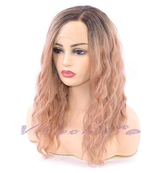 Peluca Vébonnie de color, melena (peluca de melena ondulada). Pelucas rosas clásicas para mujeres, pelo sintético, con aspecto realista para el uso diario.