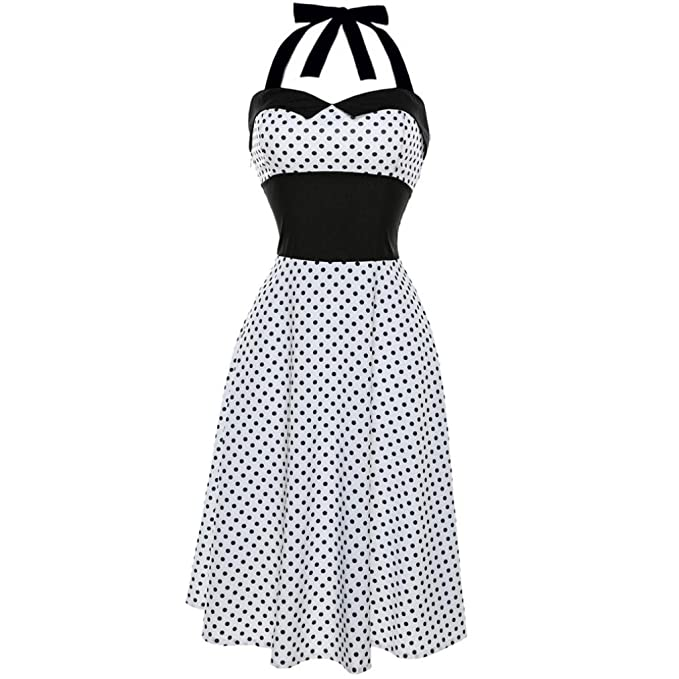 Lenfesh Mujer Vintage Vestido Pin Up de Lunares Punto Sin Mangas Halter Rockabilly Dress para Fiesta