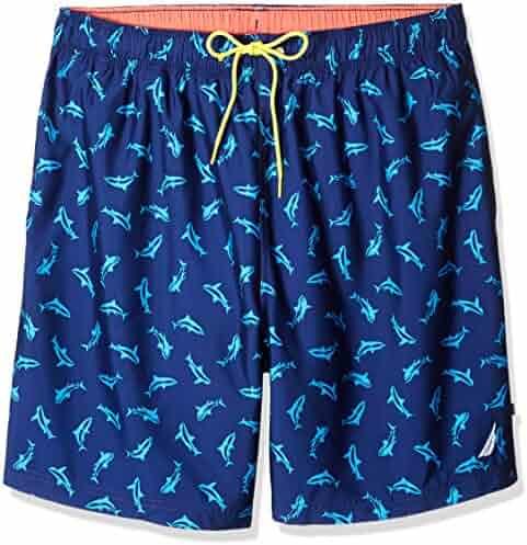 2a32426a06 Nautica Men's Big and Tall Quick Dry Half Elastic Waist Signature Print  Swim Trunk