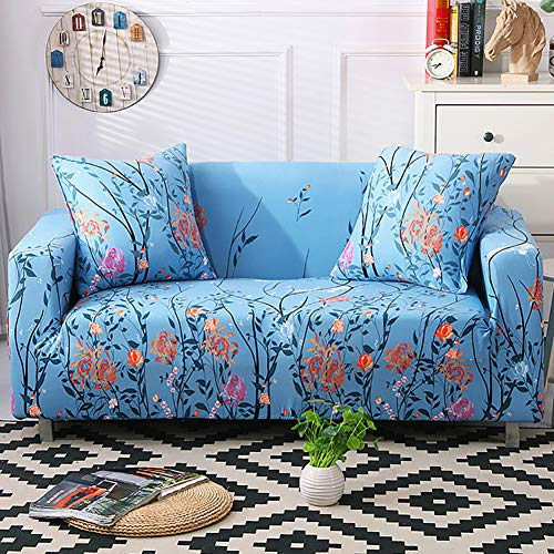 Umineux Printed Sofa Cover High Stretch Sofa Slipcovers Couch All Cover Furniture Protector for 4 Cushion Couch with Two Pillow Covers (Sofa-4 Seater, Sea Flower)