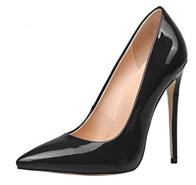 Women's Pointed Toe Stiletto Heels Solid Patent Leather Elegant Pumps Shoes