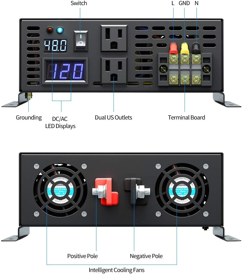 Solar 8000W Surge RV WZRELB Pure Sine Wave 4000W 48VDC 120VAC Power Inverter RBP400048