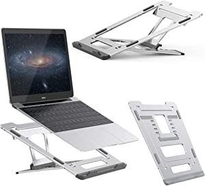 Laptop Stand Portable Laptop Standing Holder Compatible for 13-17 inch Laptops Office Table Desk Home Travel Use Universal Laptop Stand for Desks Bed Sofa Foldable Ventilated Bracket