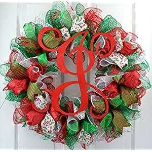 Christmas Mesh Wreaths | Monogram Christmas Wreath | Red Emerald Green White Front Door Wreath : C2 65
