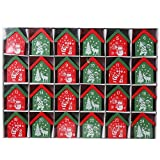 Christmas Wooden Advent Calendar 24 Houses for Hanging to fill candies or gifts