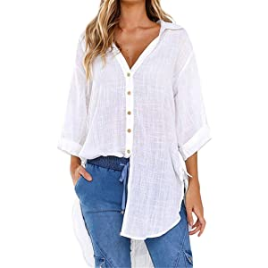 7b9a2a786 Orangeskycn Button Up Shirts For Women Casual Loose Long Ladies Tops And  Blouses