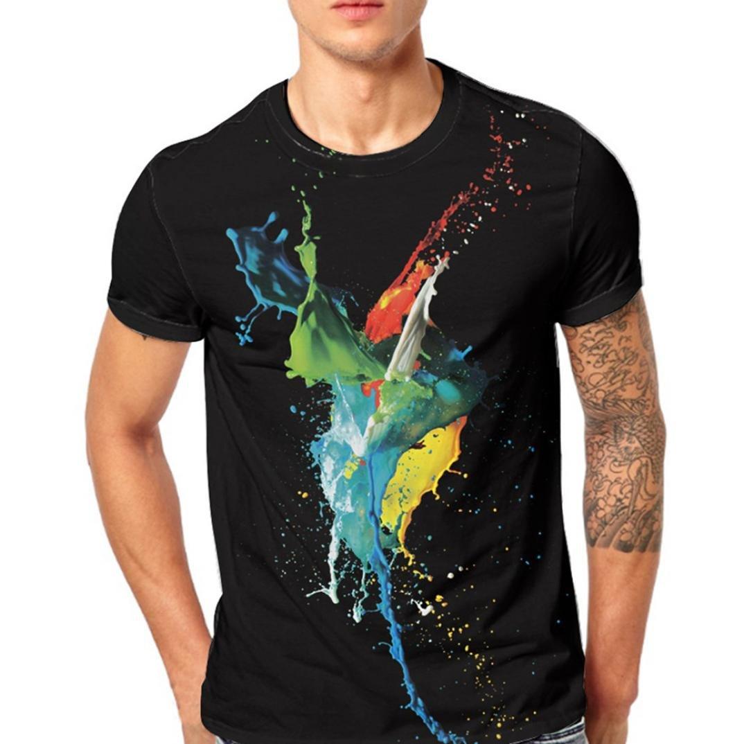 LuckyGirls Camisa Camisetas Originales Hombre Manga Cortos Verano Acuarela Deportivas Blusa Moda Polos Casuales Slim Músculo Remera Tallas Grandes (M~5XL)