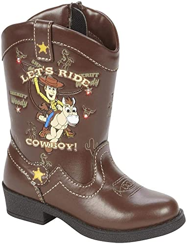 Pixar Toy Story LIGHT UP Cowboy BOOTS shoes Western Rodeo Woody Brown Toddler