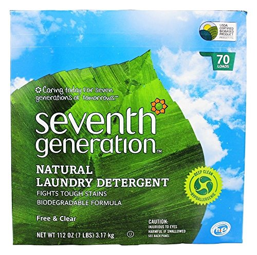 Seventh Generation Powder Laundry Concentrated, Free and Clear, 112-Ounce (Packaging May Vary)