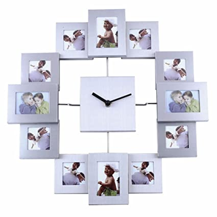 Amazon.com: Soledi 12 Picture Aluminum Photo Frame Wall Clock Wall ...