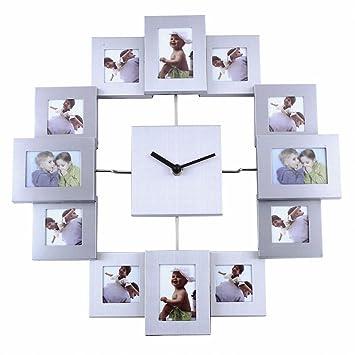 Soledi 12 Picture Aluminum Photo Frame Wall Clock Wall Clock