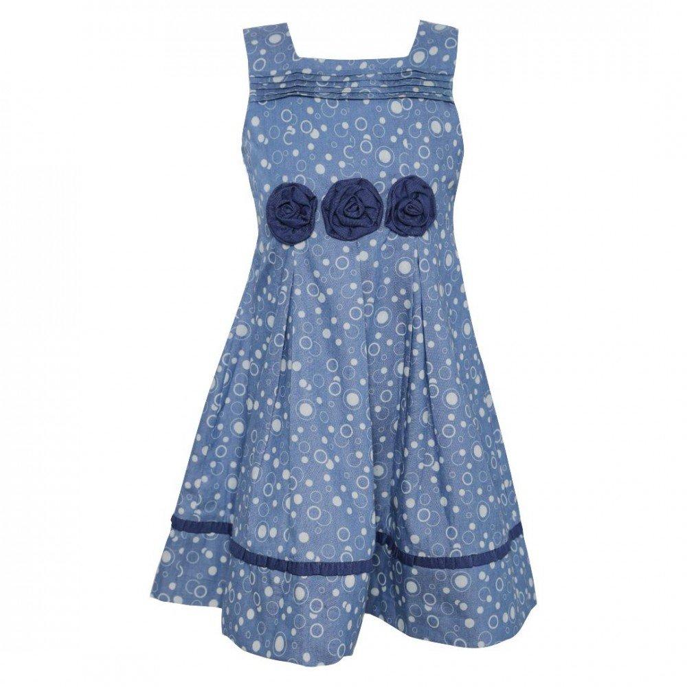 Bleu 128 cm La-V Robe Fille