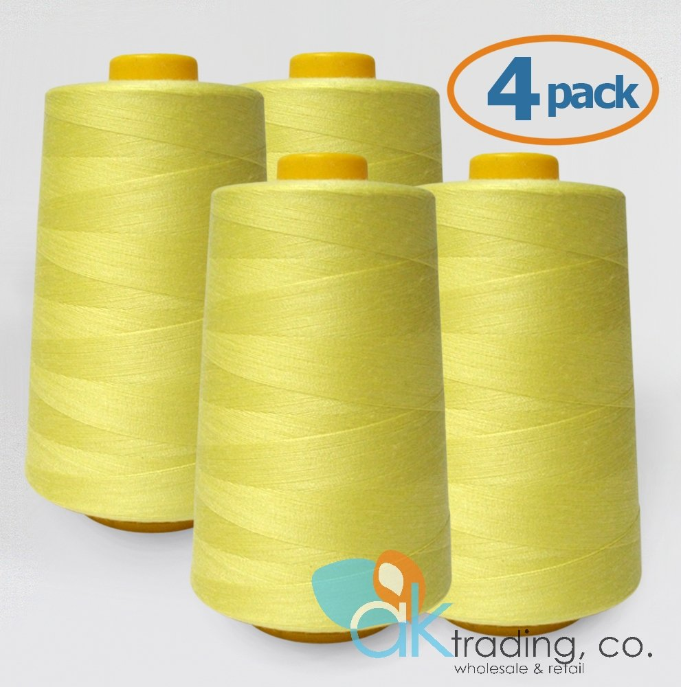 Quilting 6000 yards each of Polyester thread for Sewing AK TRADING 4-Pack WHITE Serger Cone Thread Serger