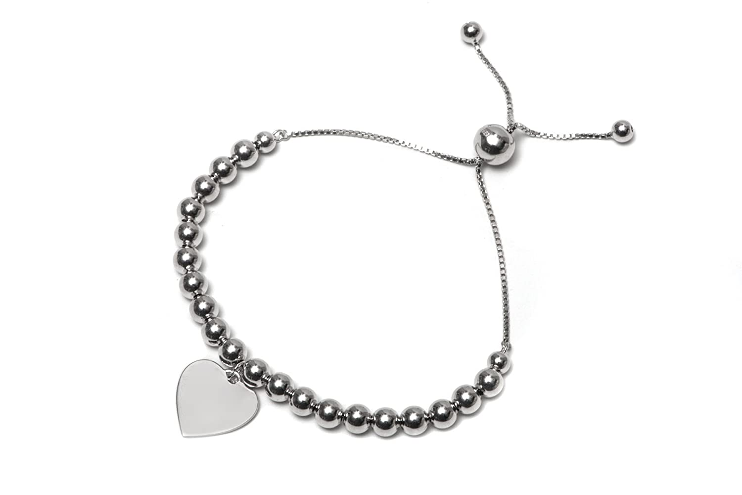 .925 Sterling Silver High Polish Ball with Dangling Heart Bolo Adjustable Bracelet