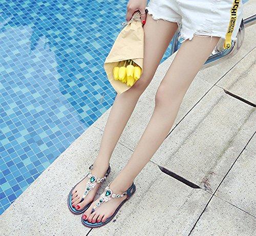 Semplice Piatto Elegante Femminile A Toe Spiaggia Da Estate Romano Sandali Clip a6qBqn