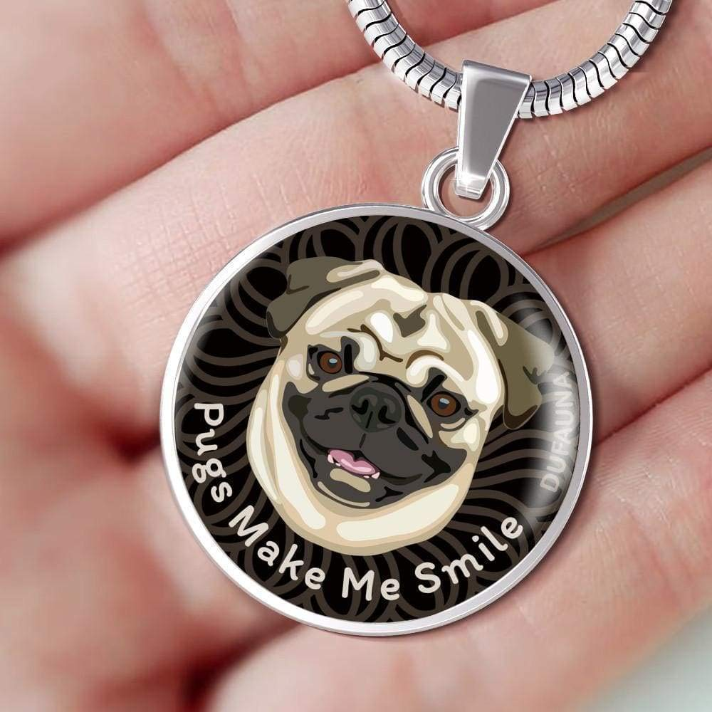 DuFauna Natural Coat//Black Pugs Make Me Smile Necklace D19 Steel or 18k Gold Finish Many Colors 18-22