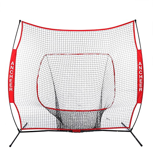 Ancheer 7x7 ft Baseball & Softball Practice Hitting Net with Bow Frame by ANCHEER