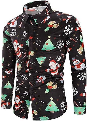 Camisas de Navidad Estampadas Divertidas para Hombre Camisa Floral de Manga Larga Novedad Fancy Casual Slim Button Shirt Top: Amazon.es: Ropa y accesorios