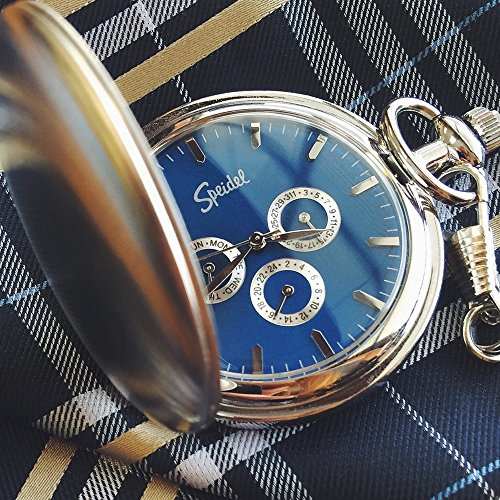 "Speidel Classic Smooth Pocket Watch with 14"" Chain Silver Tone with Blue Dial in Gift Box – Engravable by Speidel (Image #2)'"