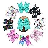 Nishine 8pcs 7' Girls Big Unicorn Heart Pattern Cheer Hair Bows Stretch Hair Rope Ribbon Bow Hair Ties Gift