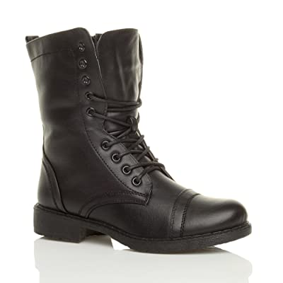 Ajvani Women's Lace Up Military Ankle Boots Size