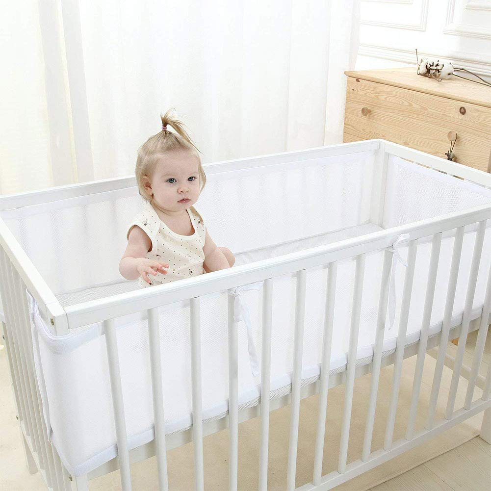 Mesh Crib Lightweight Breathable Liner White Bumper Children Care Decorative Fits All Cribs White Baby Supplies Baby Bed Liner