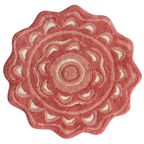 - Jessica Simpson Medallion  Bath Rug, Spice Coral/Burnt Coral/White