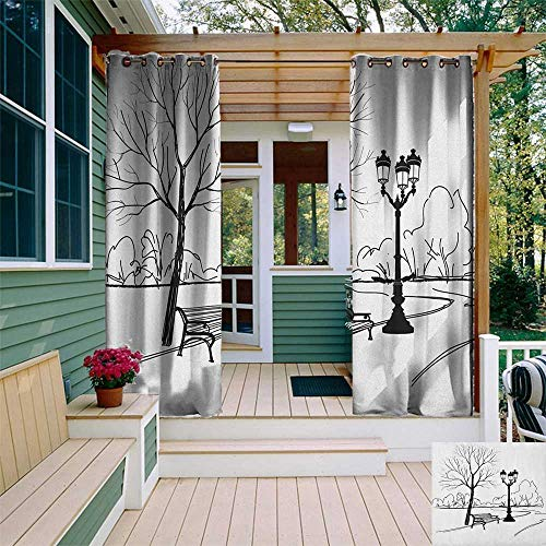leinuoyi Tree, Outdoor Curtain Extra Long, Urban Life Escape Zone for Peace and Serenity in Park with Trees and Bench Artprint, Outdoor Privacy Porch Curtains W120 x L108 Inch Black White ()
