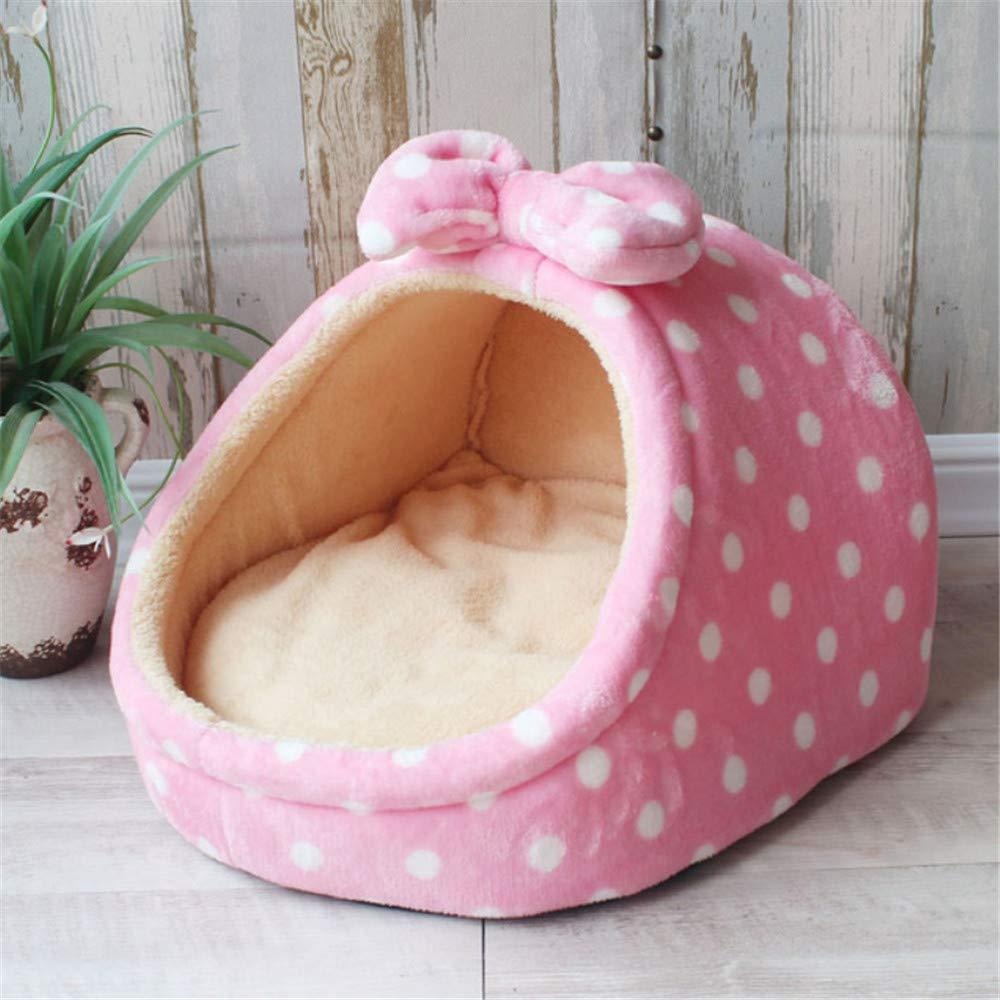 Wuwenw Linda Cama para Mascotas Casa De Perro Perrera Cachorro Cachorro Cesta Ideal para Perros Pequeños Y Medianos Moda Fresa Cueva Gato Carpa Cachorro Cachorro Ola Rosa, L