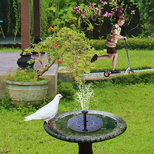 Solar fountain pump hiluckey 1 4w bird bath solar panel for Garden pond amazon