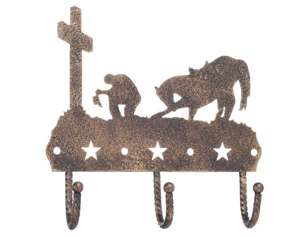 Gift Corral 3 Hook Rack - Western Cross - Black/bronze
