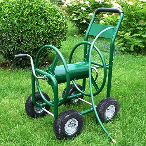 MasterPanel - Garden Water Hose Reel Cart 300FT Outdoor Heavy Duty Yard Planting W/Basket (Designer Onyx Stud)